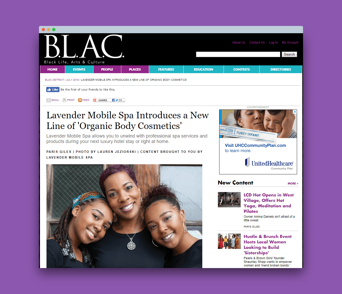 Body Cosmetics Line Featured in BLAC Magazine